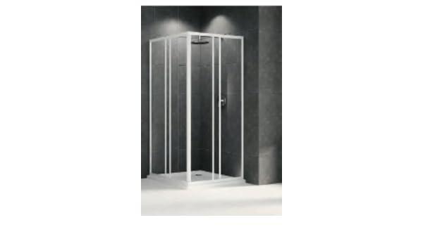 Mampara de ducha Riviera acceso ángulo cristal 3 mm profile blanco ...