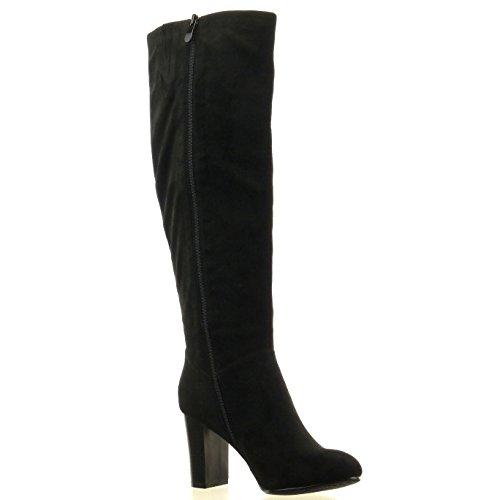 Sopily - damen Mode Schuhe Stiefel - Schwarz