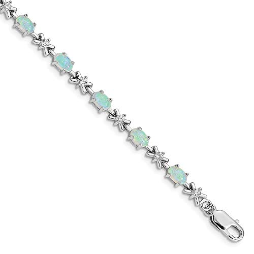 (925 Sterling Silver 7 Inch White Created Opal Cubic Zirconia Cz Bracelet Gemstone Fine Jewelry Gifts For Women For Her)