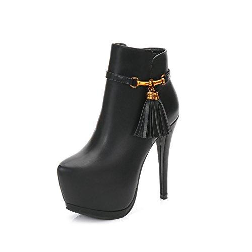 ZHZNVX El otoño y el invierno nuevo plus de metal grueso algodón-su botas es fina con bare botas botas zapatos de tacón black