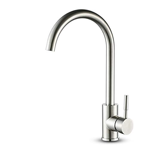 ROVOGO Single Handle High-Arc Kitchen Sink Faucet, 304 Stainless Steel Bar&Prep Faucet with Bubble Aerator, 360 Degree Rotation Spout Water Mixer Tap ()