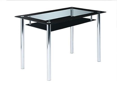 lifestyle4living Design Esstisch aus Glas mit schwarzer Glasplatte ...