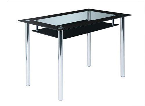 Design Esstisch aus Glas mit schwarzer Glasplatte