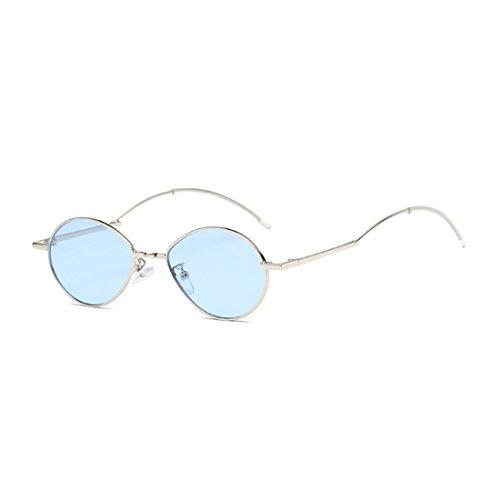 Vintage Female de oval marco Fuyingda gafas Sunglasses sol Lens Azul de Male Fashion Vintage Ocean metal wvYq8A
