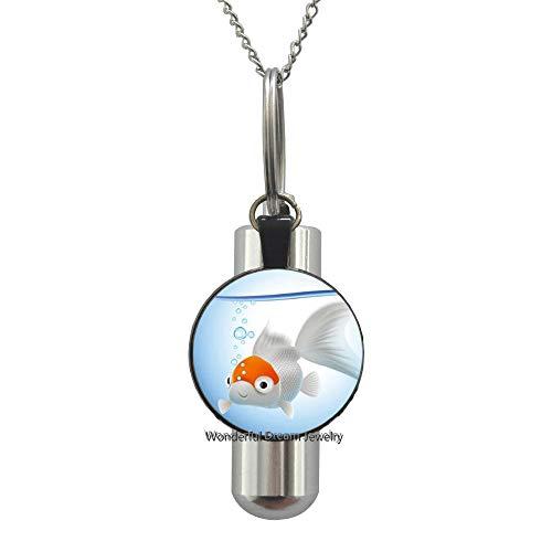 Waozshangu Goldfish Logo URN Cremation URN Necklace Animal Picture,Fish Jewelry Cremation URN Necklace Wearable Art URN Charm Goldfish URN Charm,PU091