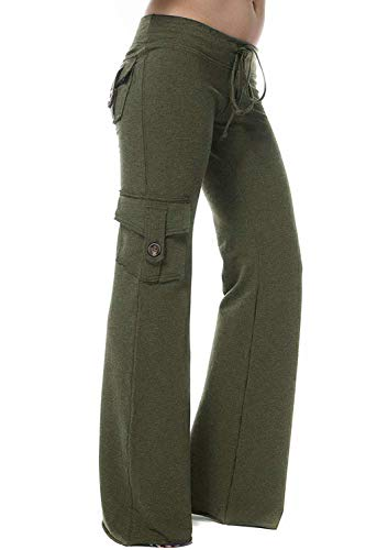 HSRKB Womens Yoga Pants Wide Leg Sweatpants Bootleg Pants with Muti Pockets Army Green