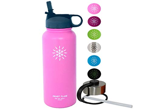 32oz Stainless Steel, Wide Mouth, Vacuum Insulated, Double Walled Water Bottle, Includes Leakproof Travel Lid and Convenient Straw Cap