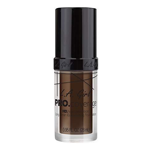 (L.A. Girl Pro Coverage Liquid Foundation, Dark Chocolate, 0.95 Fluid)