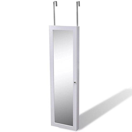vidaXL White Mirrored Jewelry Cabinet Armoire Mirror Organizer Wall Hanging Storage Box by vidaXL