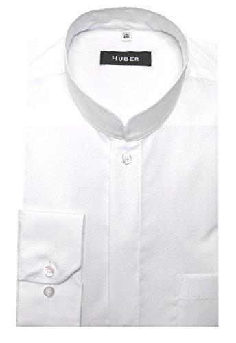 HUBER Stehkragen Hemd weiß Asia Japan Kragen verdeckte Knopfleiste 0071 Made in EU. bequemer Schnitt Größe S bis 6XL