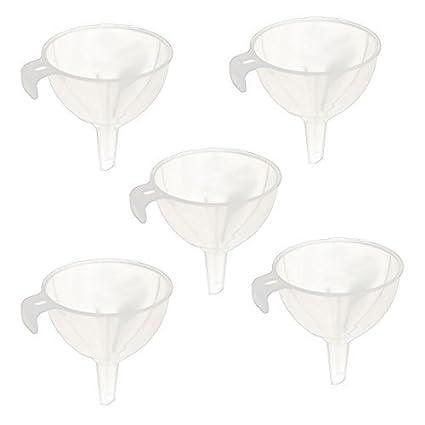 Aceite Agua eDealMax plástico de cocina líquido embudo de trasvase herramienta 5pcs blanco claro