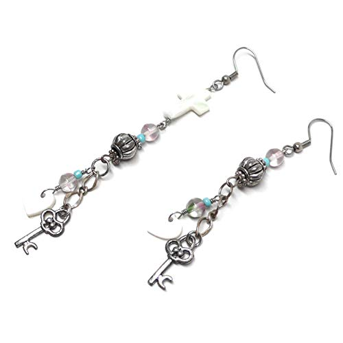 Key to My Heart Asymmetrical Earrings Mother-of-Pearl Shell Cross Pewter