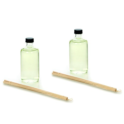 Hosley Aromatherapy Vanilla Almond Reed Diffuser Refill Oil Set of 2, 200 ML each. Includes Diffuser Oil, Bottle & Reed Sticks. Ideal GIFT for wedding, Party, bridal, reiki, Spa, Meditation O4