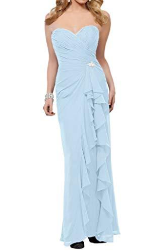 Brautjungfernkleider Bodenlang La Chiffon Braut Schnitt Formale Damen Himmel Schmaler Festlich Blau Marie Einfach Partykleider xx6FqgZ