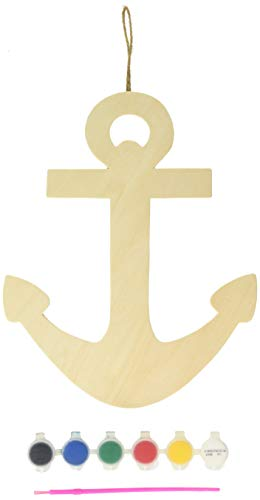 Creative Crafts Unfinished Wooden Anchor Wall Decor with Hanger]()