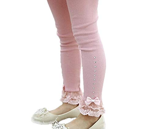 Toddler and Girl Lace Ruffle Capri and Full Length Leggings. (Ankle Ruffle Pink, 6T) ()