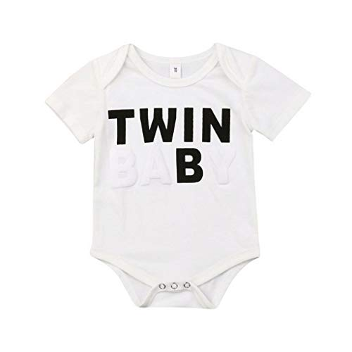 Newborn Toddler Baby Boys Girls Clothes Round Neck Short Sleeve Bodysuit Cotton Kids Lovely Jumpsuits(B,6M)