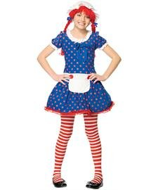 2Pc Rag Doll, Includes Dress And Bonnet With Attached Wig (Blue/Red;Child Small)