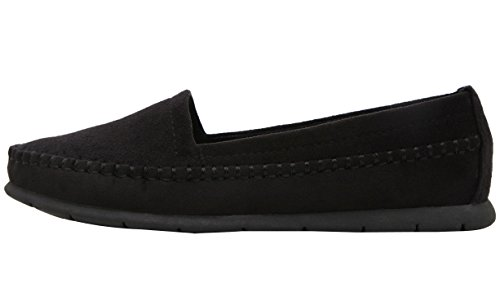 DQQ Women's Stich Loafer Slip On Flat Shoes Black hl6Ji