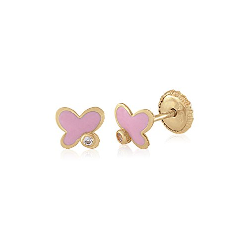 MASSETE 14k Yellow Gold Screwback Earrings Butterfly Pink and CZ Accent for Children