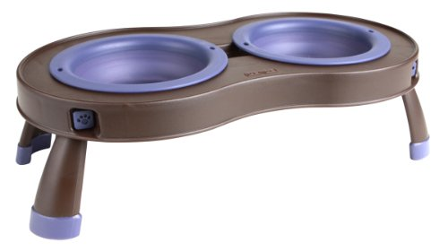 Dexas Popware for Pets Elevated Tandem Feeder Bowls with Legs, Small, Brown/Purple