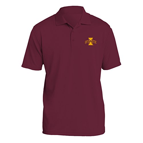 UGP Campus Apparel AP07 - Iowa State Cyclones Primary Logo Left Chest Mens Polo - Medium - Maroon ()