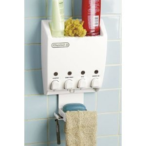 Better Living Products Dispenser Shower Caddy, Four Chamber Dispenser and Caddy, White
