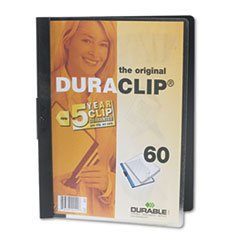 * Vinyl DuraClip Report Cover w/Clip, Letter, Holds 60 Pages, Clear/Blac