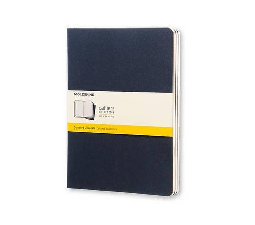Moleskine Cahier Journal (Set of 3), Extra Large, Squared, Indigo Blue, Soft Cover (7.5 x 10) (Plain Journal Blue)
