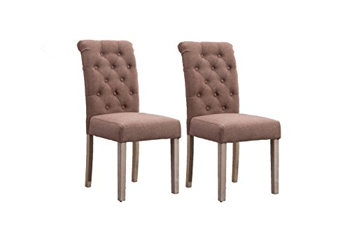 Fabric Dining Chairs Habit Solid Wood High Back Tufted Upholstered Parsons for Dining Room Set of 2 (Brown) For Sale
