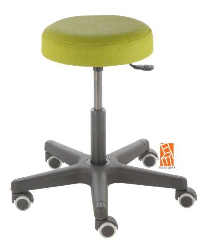 Arbeitshocker , Arzthocker, Drehhocker, Rollhocker Modell comfort, Hubbereich ca. 46 - 59 cm, Rollen mit weicher Radbandage, Sitzfarbe limone