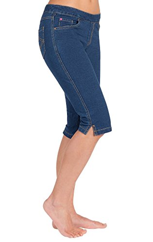 PajamaJean Women's Knee-Length Stretch Denim Shorts, Bluestone Wash, LG 12-14 - Cotton Denim Jeans Shorts