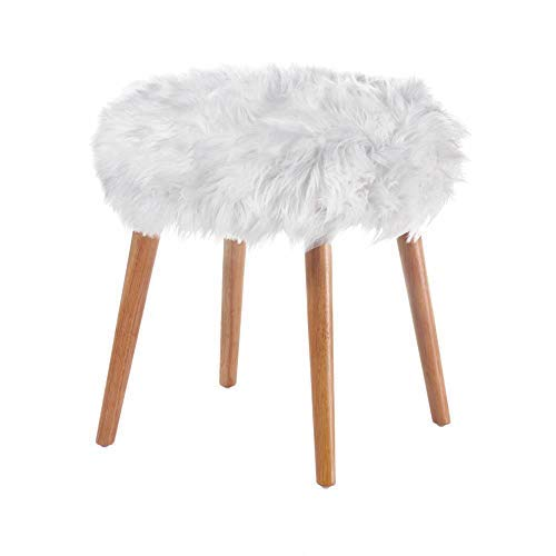 Teens Faux Fur Stool Cute Vanity Chair White Accent Chairs Round Puffy Fake Fluffy Dorm Room Ottoman Furry Stools Daughters Bedroom Seating Flokati For Teen Girls Buy Online