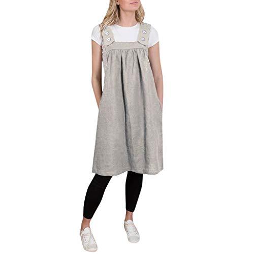 Vrac Décontractée BretellesFemmes Confortable Bouton Les À Coton Travail Robe Carrée Kaki Couleur Robes Wudube Unie En W2EIDH9