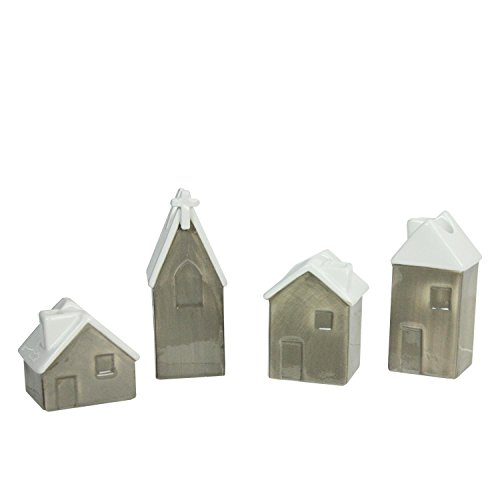 Roman Set of 4 White and Brown Church and Houses Advent Christmas Taper Candle Holders 4.75