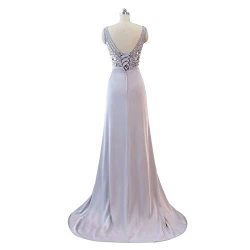 14 Spitze Formale Ballkleider Split Lange Frauen Hohe der Ausschnitt Abendkleid V Perlen STwg1qP