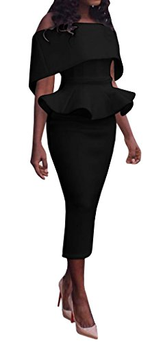 Ybenlow Womens Off Shoulder Peplum Slim Fit Bodycon Cocktail Pencil Dress Black Medium