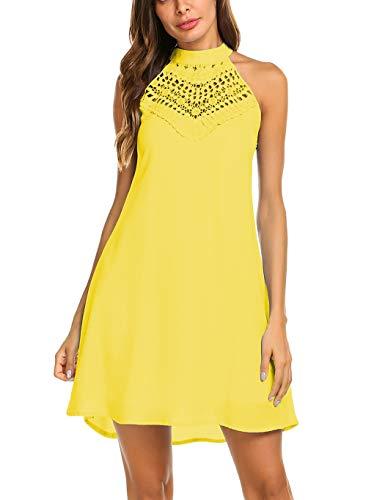 4380faf950c Sweetnight Womens Halter Neck Chiffon Tunic Tank Dress T Shirt Dresses