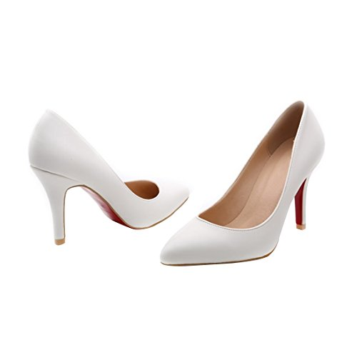 HooH Femmes Simple Pointu Escarpins Y2623 Blanc SQLa2c