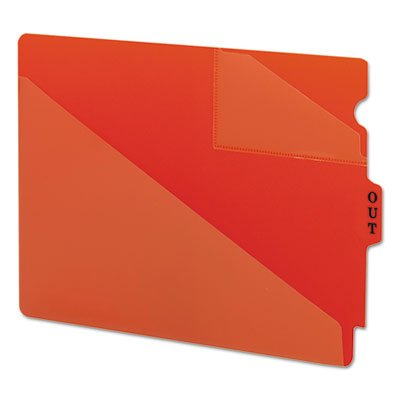 (Out Guides with Diagonal-Cut Pockets, Poly, Letter, Red, 50/Box, Sold as 50)