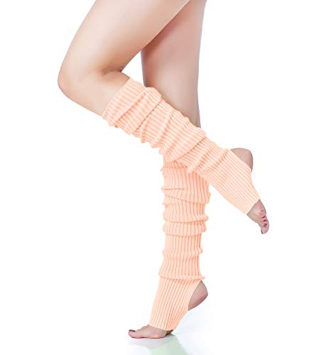 V28 Women's Neon Knit Leg Warmer for 80s Party Dance Sports Yoga (61-Pink)
