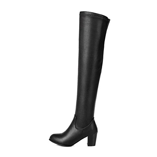Closed Round Boots Heels Pull AgooLar Black Solid Kitten Toe Women's On w7tIU