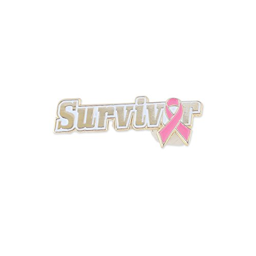 Pink Ribbon Survivor October Breast Cancer Awareness Lapel Pin (1 Pin)
