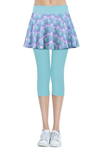 Cityoung Women's Yoga Capris Tennis Skirt With Leggings S Printed Cyan