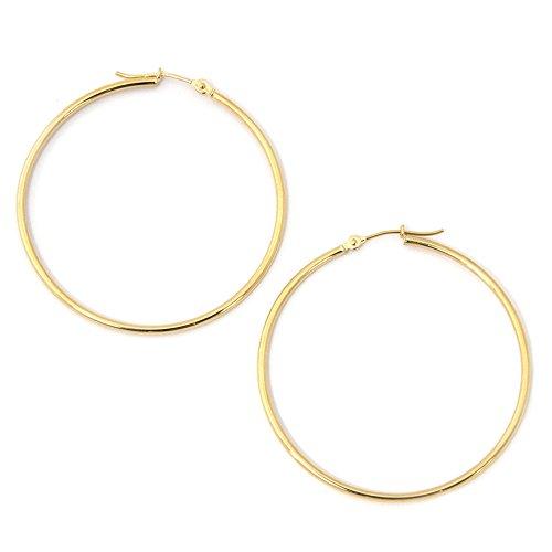10k Gold Circle Hoop Earrings (10k Yellow Gold 1.5mm Hoop Earrings, 1.5