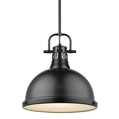 Golden Lighting 3604-L BLK One Light Pendant, Black