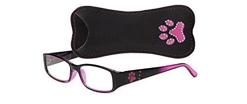 Select-A-Vision Dog Bone Rectangular Reading Glasses w/Single Pawprint, Pink, 2.00