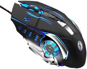 VIBOTON Gaming Mouse, Wired USB 2.0 Optical Mice, 3200 DPI LED Backlight 6 Button, 4 Color Breathing Lights with 1.5M Nylon Cable for Gamers (Model No. – Tinji TJ-1)