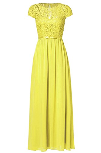 Ssyiz Custom Yellow Women's Vintage Floral Lace Cap Sleeve Long Chiffon Bridesmaid Evening Dress 6