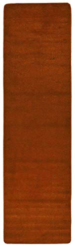 RugStylesOnline Comfy Solid Color Runner Area Rug 26 Inch Wide x Your Choice Length More Color Options Available Slip Skid Resistant Rubber Back (Burnt Orange, 2'2